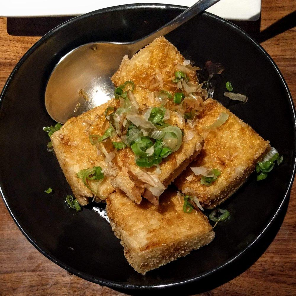 Photo of Jin Ye - Richmond, CA, United States. fried tofu with soy sauce, scallions and bonito flakes