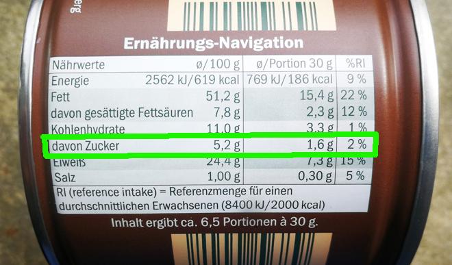 Nährwerttabelle mit natürlichem Zucker (Erdnüsse)