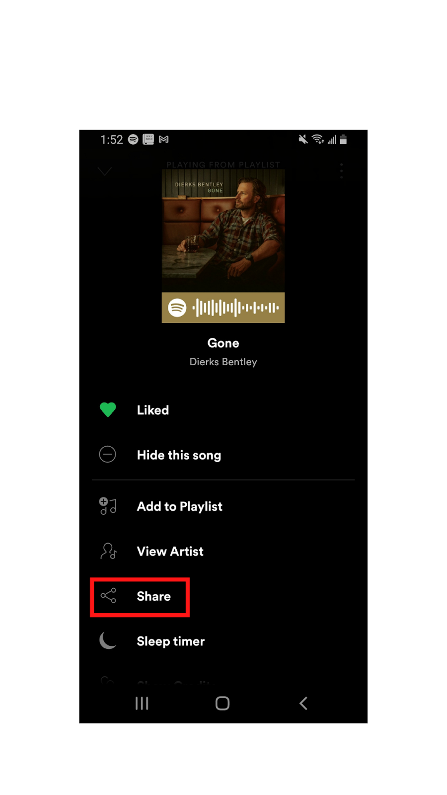 """Picture of adding music from Spotify onto Instagram by selecting """"share"""""""