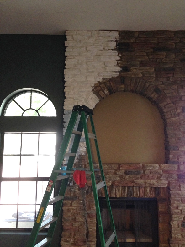 Painting Faux Stone Fireplace