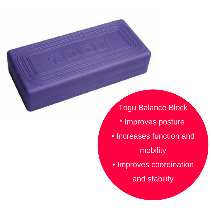 Togu Balance block was designed to improve both strength and flexibility while performing proprioceptive and therapeutic exercises.