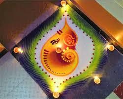 Floor Art Rangoli Design For Ganesh Chaturthi