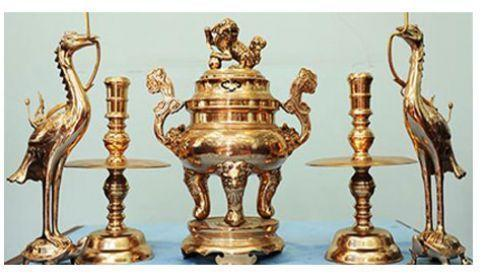 bộ đèn thờ bằng đồng