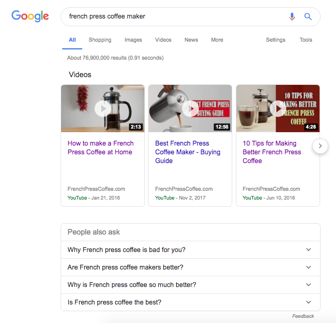 Video carousels are one of many Google products that appear on a first page search result