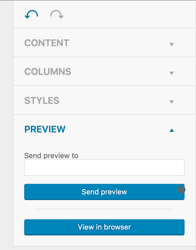 Send a preview in MailPoet.