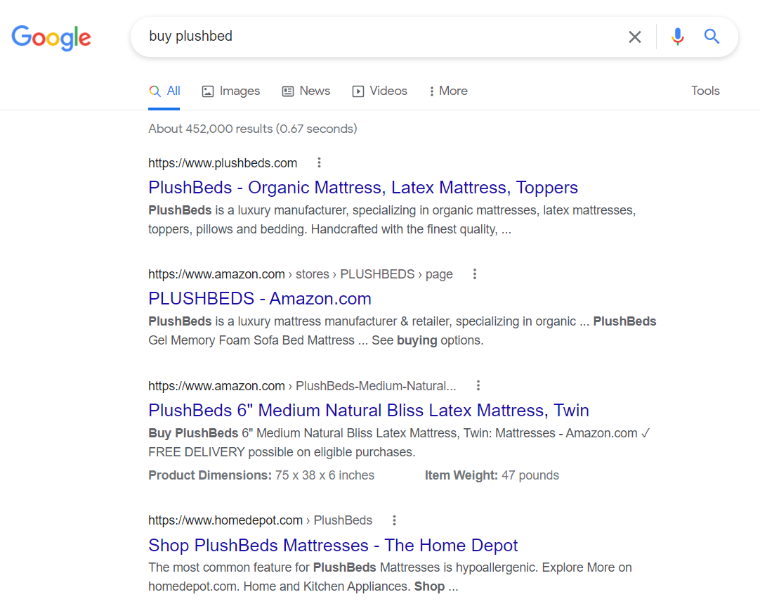 SERP for transactional keyword intent for 'buy plushbed