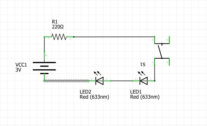 Принципиальная схема к упражнению 2. Подключение двух светодиодов последовательно.