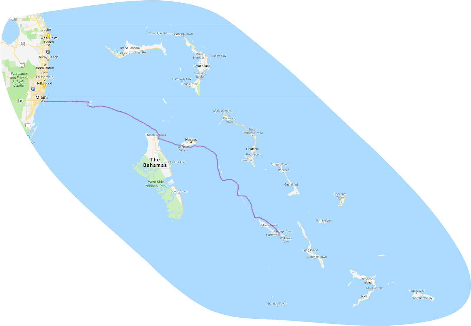 Planing Your Route to the Bahamas - Bahamas Trip Map Route