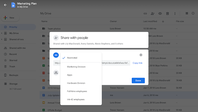 Limit Google Drive sharing to specific groups with target audiences, now generally available