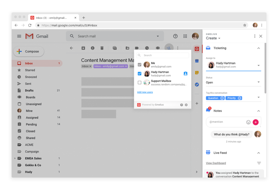 Gmelius has a shared inbox and shared labels function that allows you to create a simple email ticketing system for Gmail, as shown here.