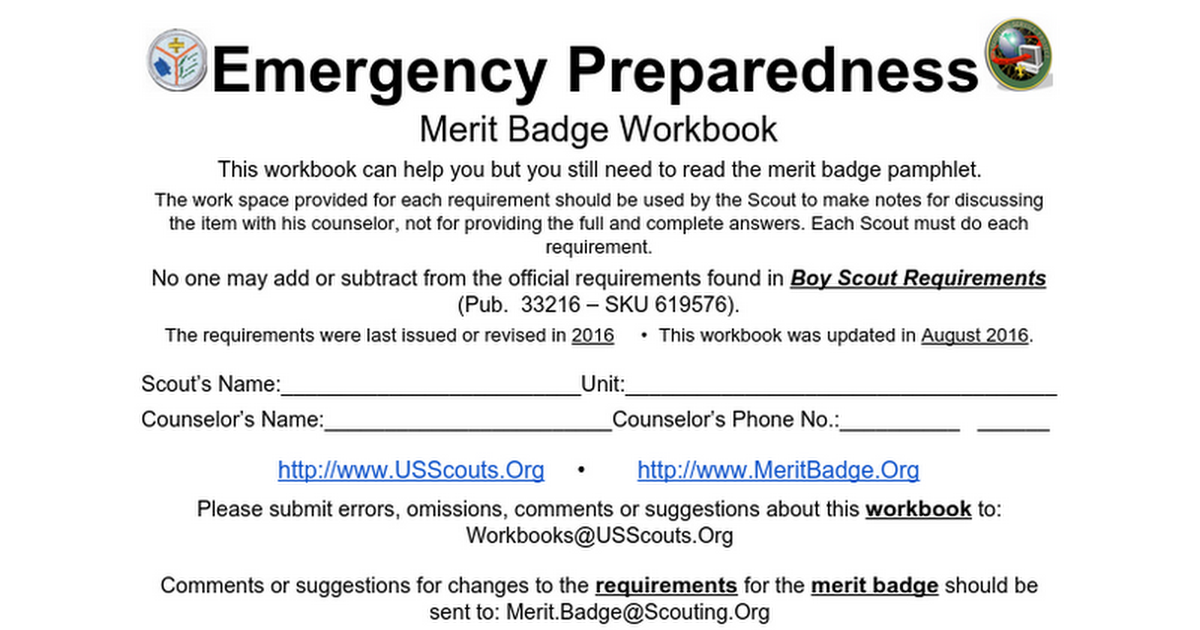 Emergency Preparedness Merit Badge Mosi 2016 2017 Google Docs