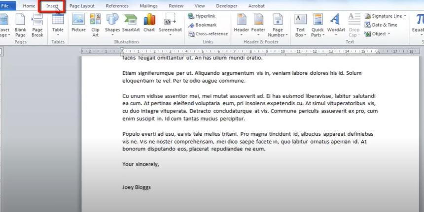 Insert a Signature into Microsoft Word - Select Insert Option