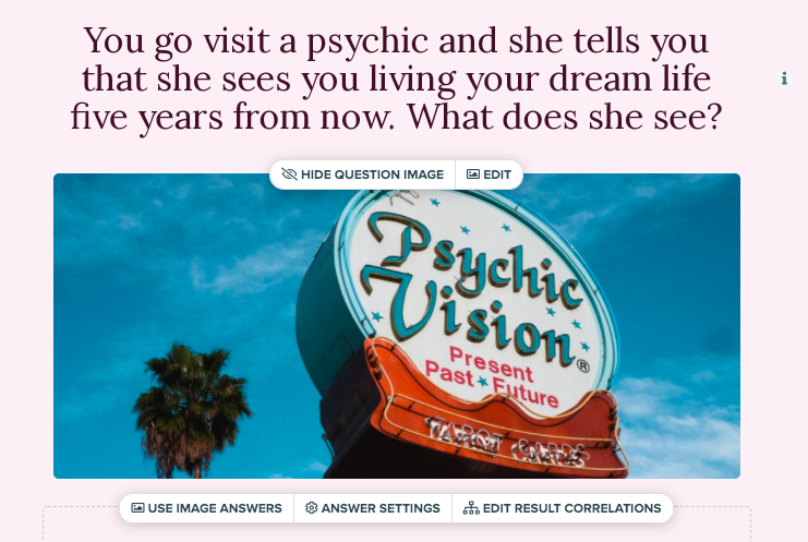 quiz question about what a psychic would see in your dream life with image