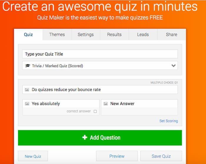 Ví dụ về mẫu trình tạo bài kiểm tra khi tạo bài kiểm tra cho nội dung của bạn