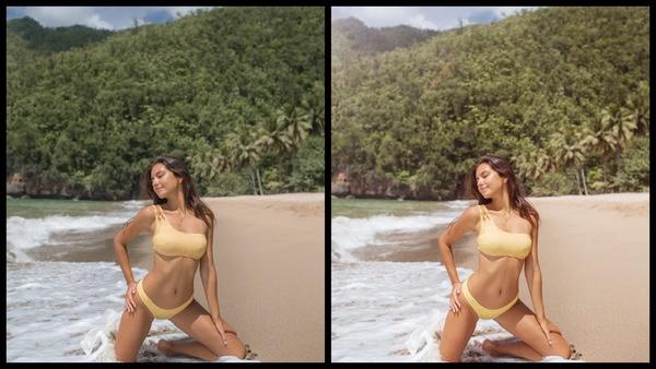 Montagem de duas fotos usando a mesma mulher posando na praia. Foto 1 sem edições e foto 2 usando o Filtro Glossy