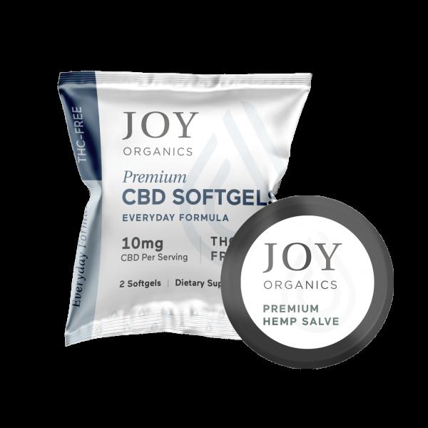 Image of a sample pack of CBD softgels from Joy Organics