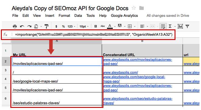 API ImportRange SEOmoz Google Tài liệu