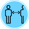 Line icon of two individuals maintaining social distance