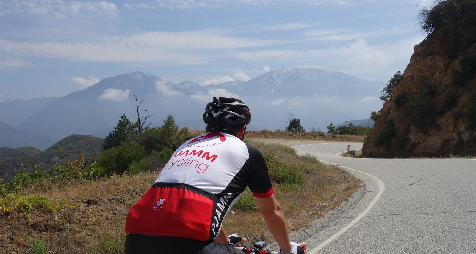 PJAMM cyclist riding bike up Glendora Mountain Road from Glendora CA