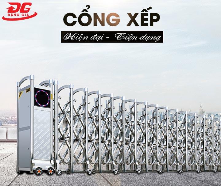 Cổng xếp inox điện