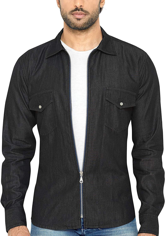 Global Rang Men's Full-Zip Solid Denim Shirt