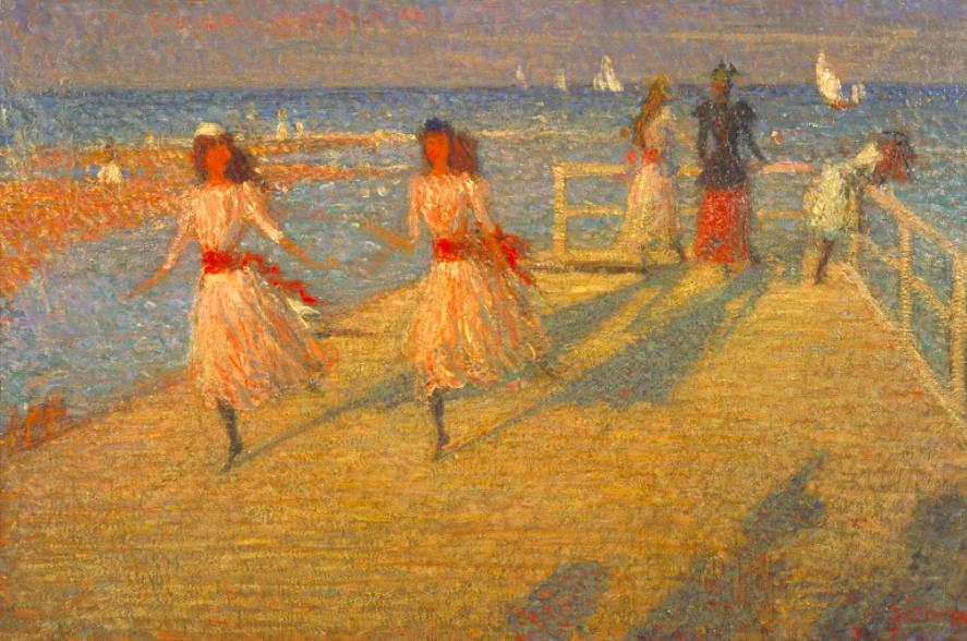 Philip Wilson Steer (1860-1942)  Girls Running, Walberswick Pier