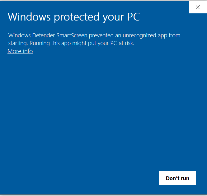 Windows protected your PC message.
