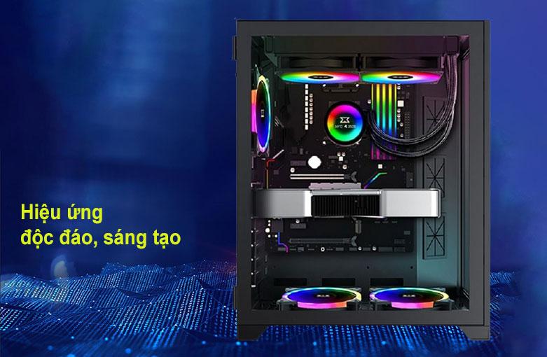 Case Xigmatek AQUARIUS S BLACK (No Fan) Đen (EN46508) | Hiệu ứng độc đáo, sáng tạo