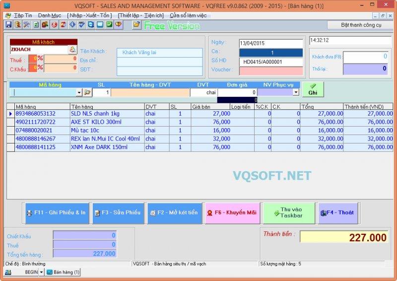 Phần mềm bán hàng tại Vqsoft