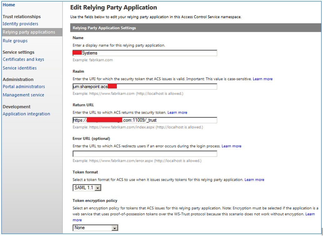 Edit Relying Party Application Settings.