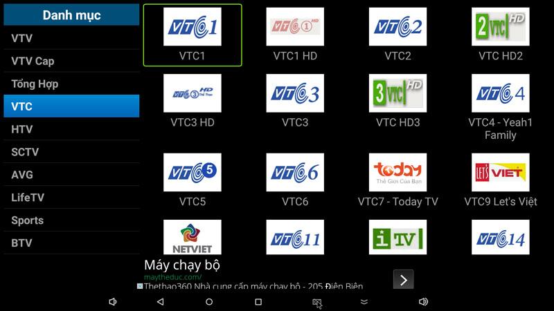 flytv ung dung xem truyen hinh tivi online mien phi cho android tv box flytvbox - nhom kenh vtc