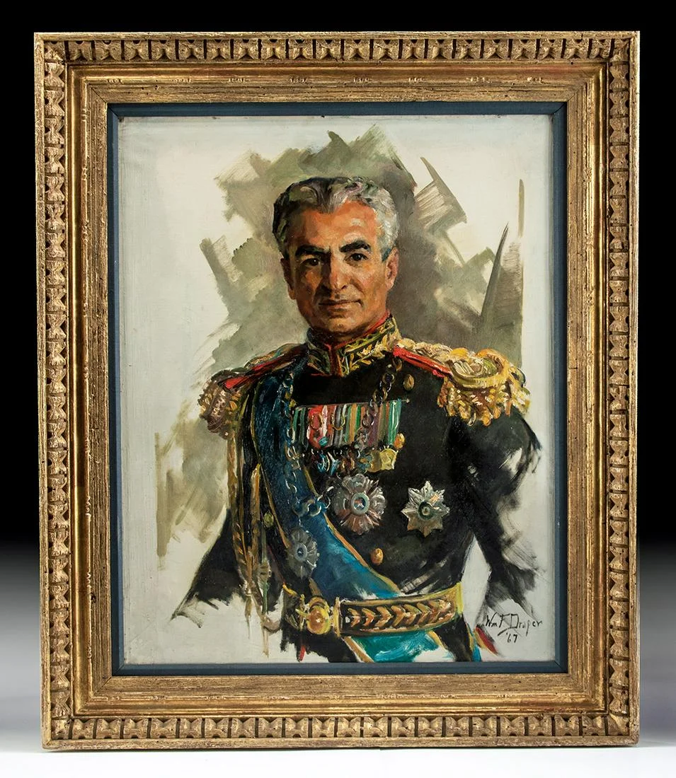 Framed Draper Portrait of the Shah of Iran, 1967