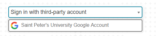 "Blackboard Login Screen with ""Sign In with Third part Account"" button expanded to choice ""Saint Peter's University Google Account"""