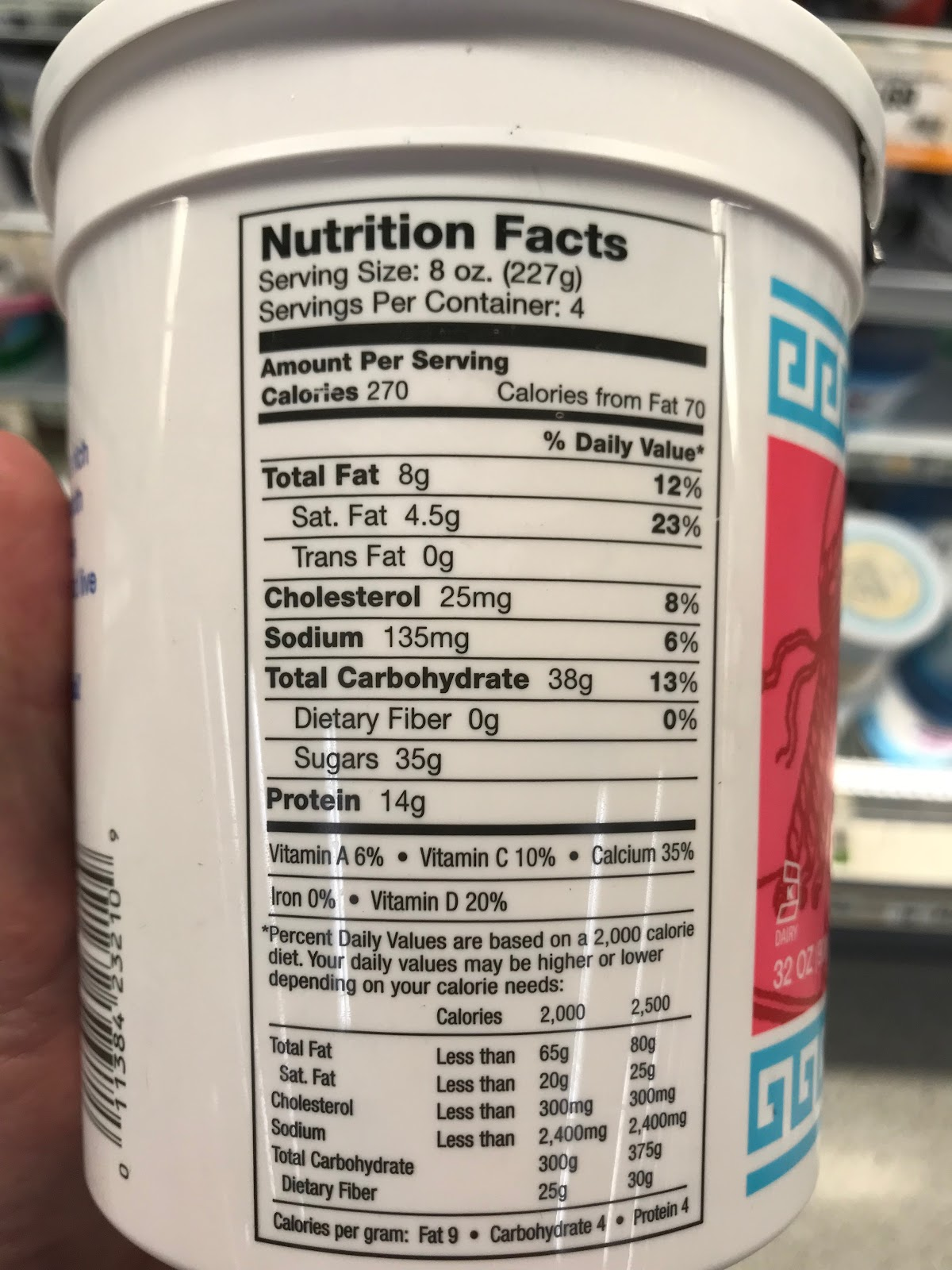 image showing Nutrition Facts for strawberry yogurt listing 35 grams of sugar