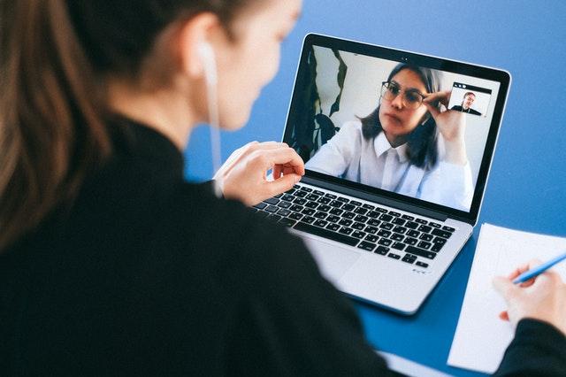 An applicant being interviewed online