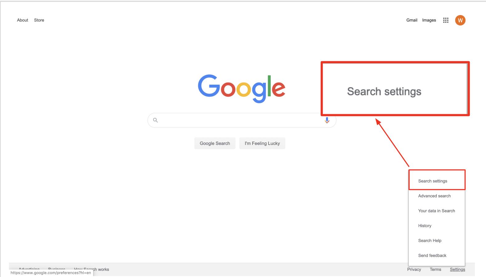 google search settings menu