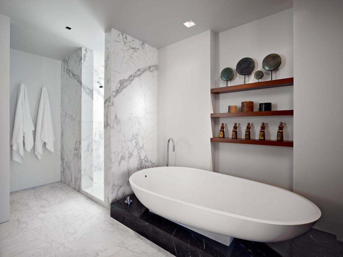 Modern White Bathroom Freestanding Bathtub