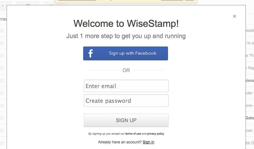 WiseStamp signup