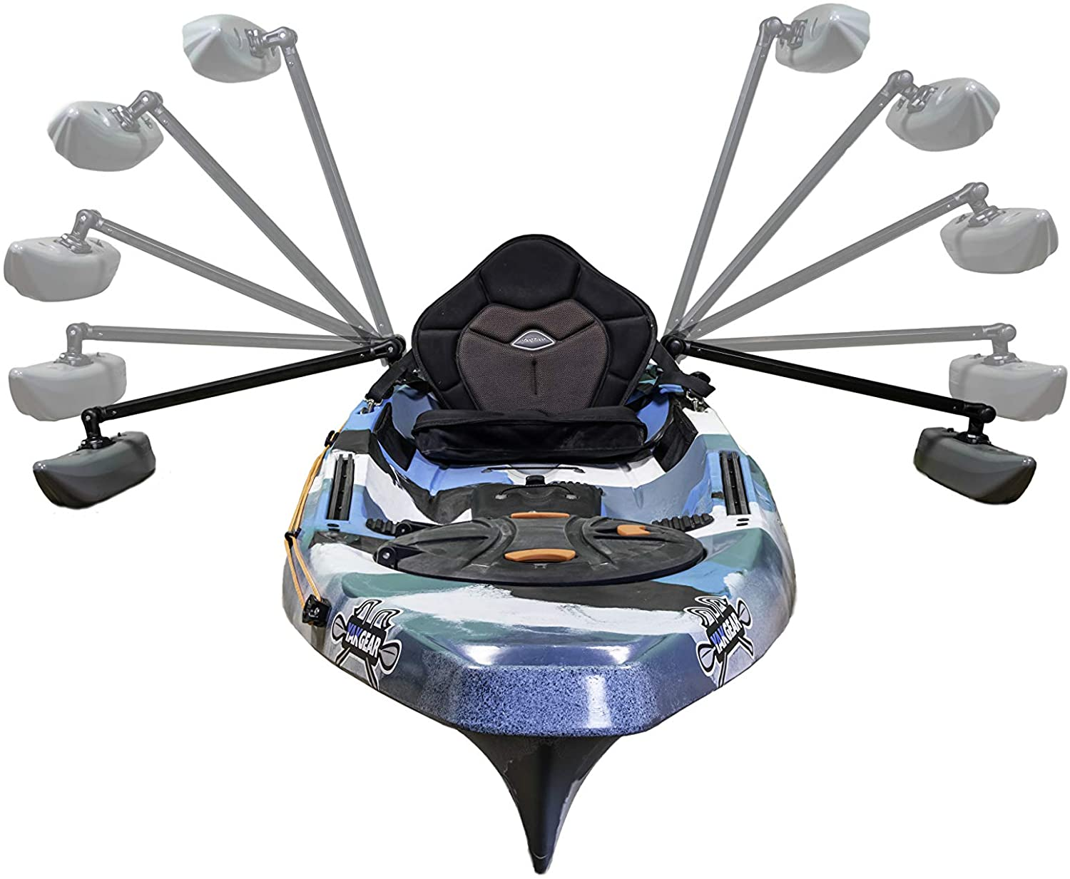 Stabilizers are shown that can be used on a canoe, kayak, or paddle board for increased stability.