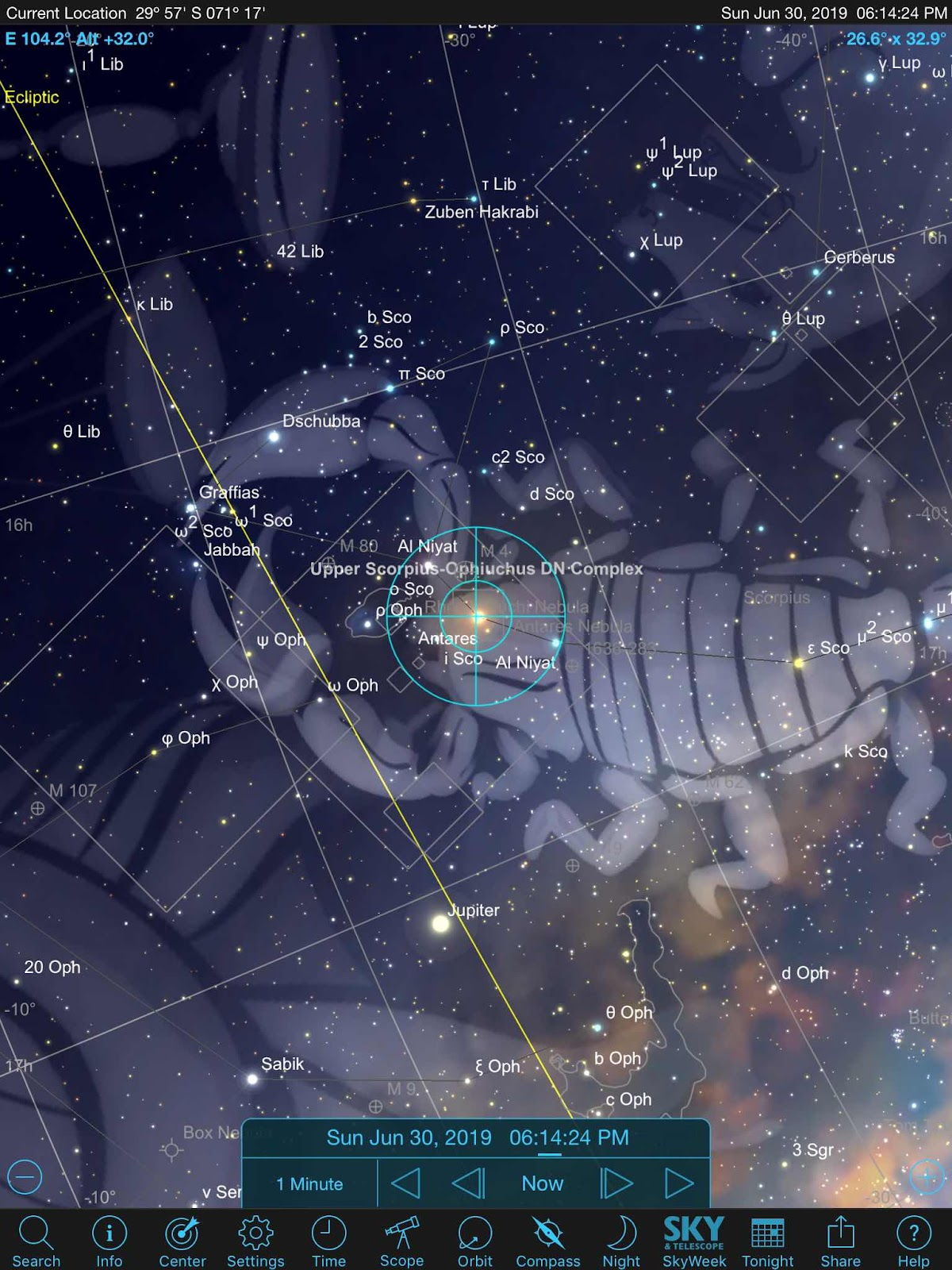Sky Safari Pro screenshot showing location of Jupiter as seen in La Serena, Chile
