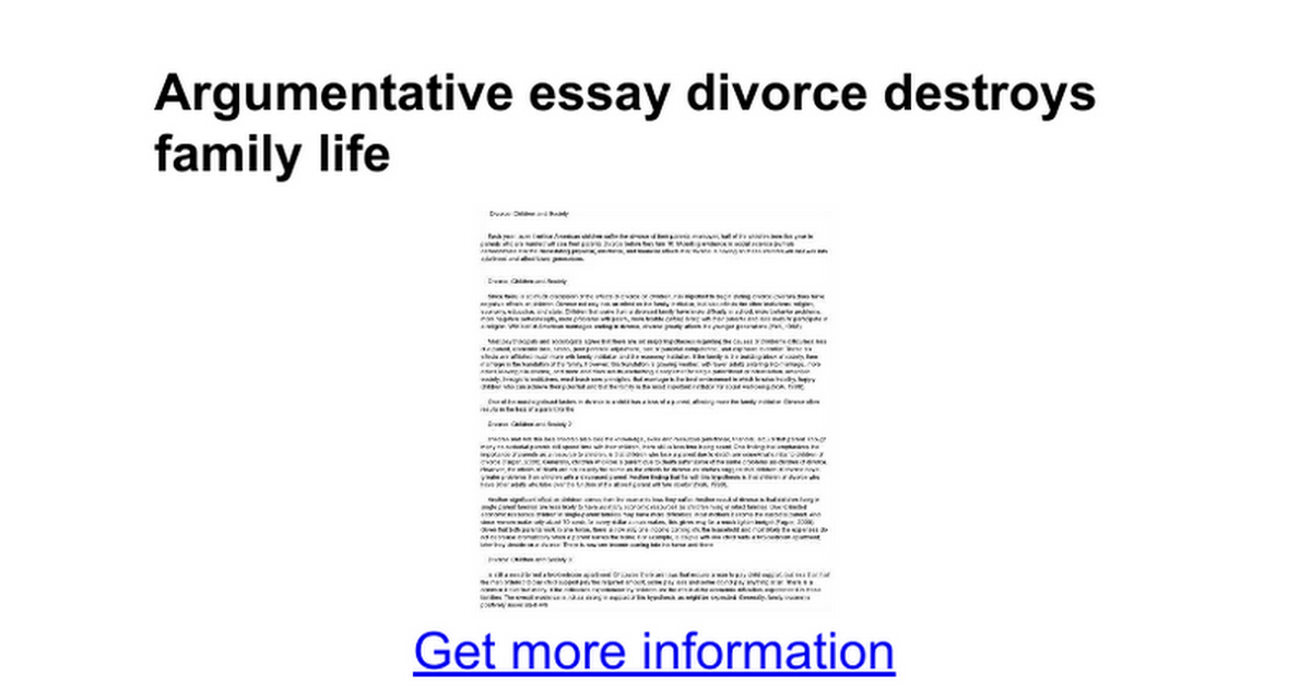 Divorce outline essay