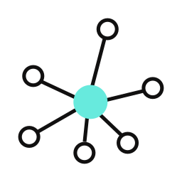 A teal-colored circle connected to white circles via black lines