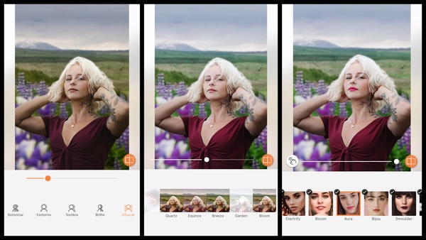Tutorial de edição de uma foto de uma mulher posando com as mãos no cabeço em um campo com flores usando as ferramentas do AirBrush