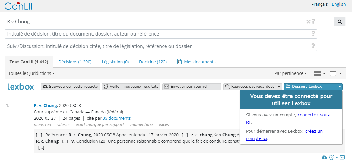 Capture d'écran affichant une recherche CanLII non connectée à Lexbox avec le menu déroulant «Parcourir Lexbox» ouvert.