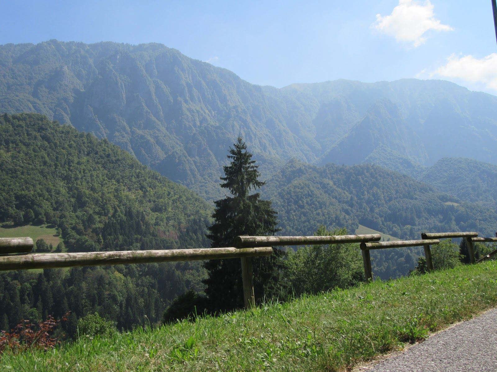 Biking Monte Grappa from Seren - canyon and forest and mountains