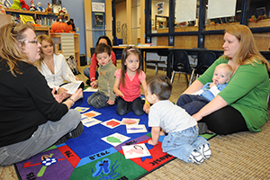 """Books and Babies"" event at a McConnell Air Force Base library"