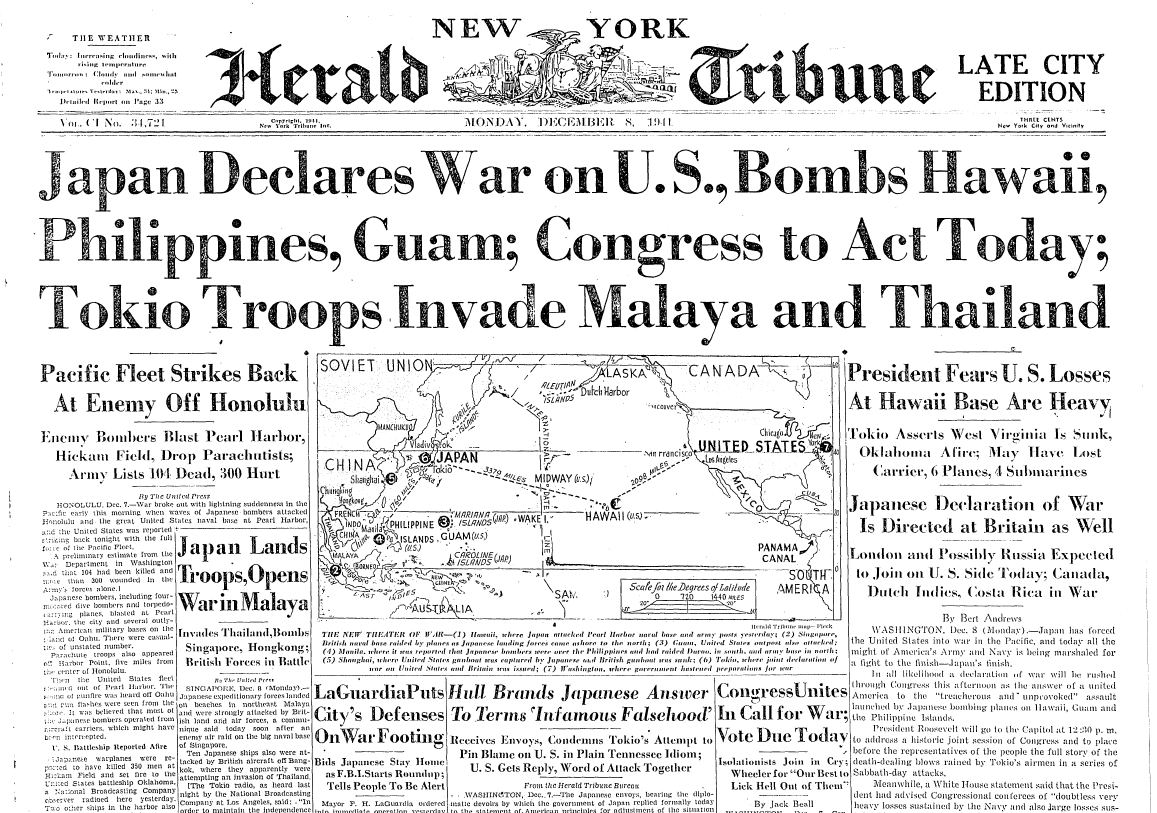 On the Front Page: A Look Back at Pearl Harbor | The New
