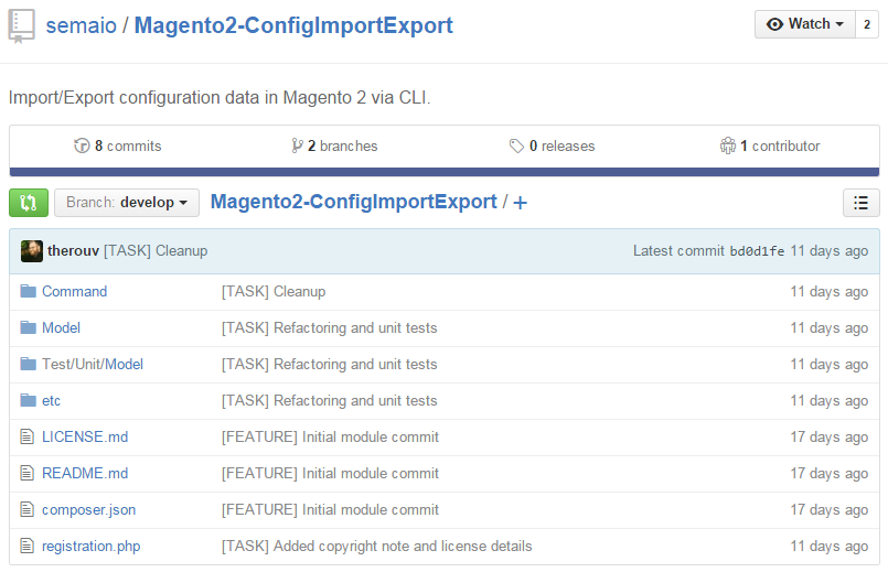 MAgento 2 extensions: Magento2-ConfigImportExport