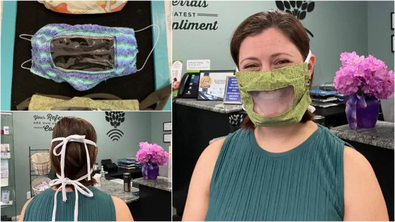 La audióloga Dra. Saranne Lentz-Barker usa una máscara transparente en la clínica de Raleigh, Carolina del Norte, donde trabaja. Arriba a la izquierda: máscaras claras diseñadas para ayudar a las personas con discapacidad auditiva a ver cómo se mueven las personas cuando hablan. (Centro de audición y tinnitus de Raleigh)