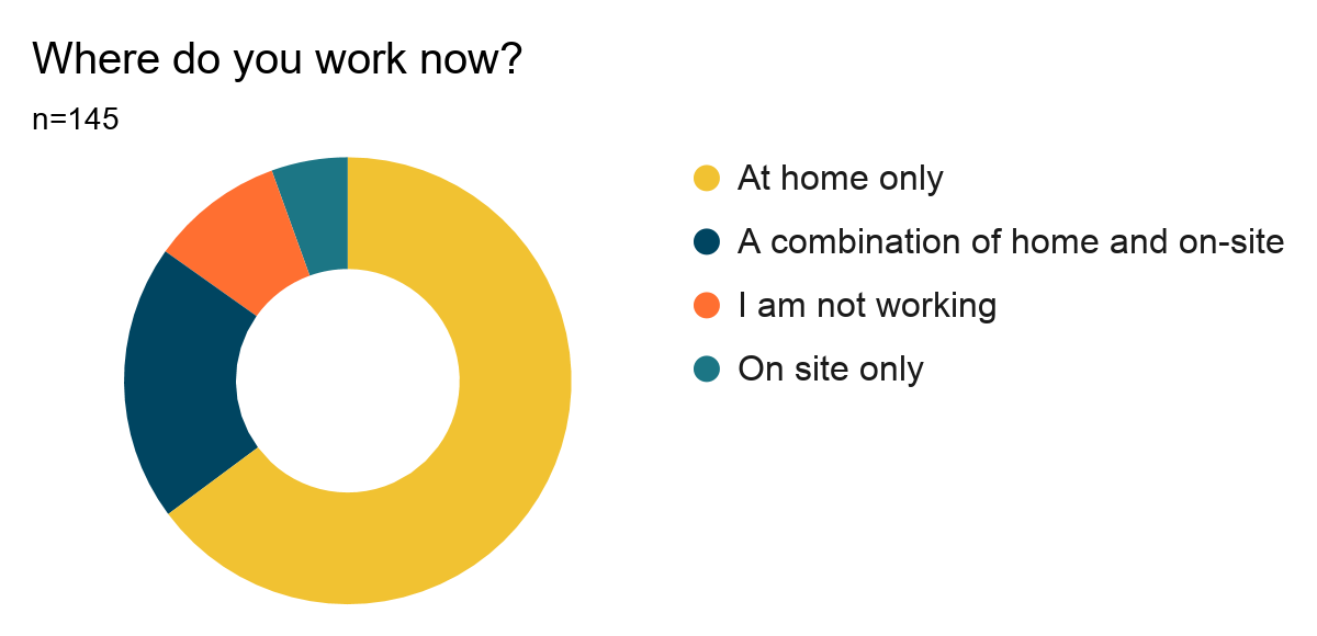 Donut chart showing results of Question 13: Where do you now work? Results are listed below.